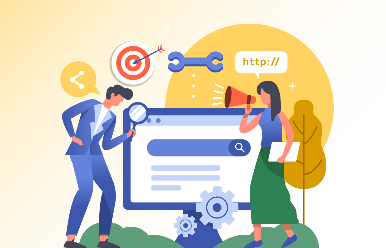 Big Illustration of people identifying website